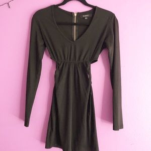 Dresses & Skirts - Black long sleeve bodycon with side cut outs